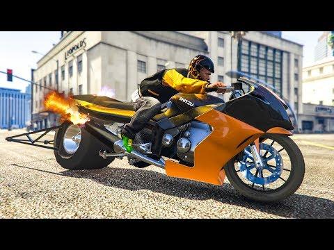 THE FASTEST MOTORBIKE IN GTA 5! - (GTA 5 Dragster Bike Mod) - GTA Videos